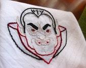Hand-embroidered Halloween Dracula hankie