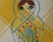 Matryoshka hand-embroidered cotton napkins (set of 4)