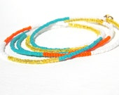 Tangerine and Turquoise Wrap Bracelet, Hues of Orange, Aqua and White - delmarlady