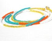 Tangerine and Turquoise Wrap Bracelet, Hues of Orange, Aqua and White