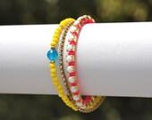 Lemon Yellow and Neon Pink Wrap Bracelet with Rhinestone Chain.