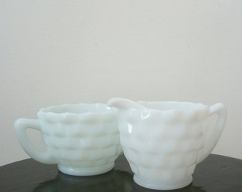 Milk Glass Creamer and Sugar  Set