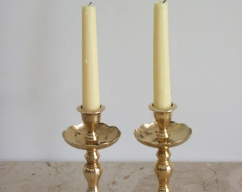 Pair of Brass Fountain Style Candle Holders