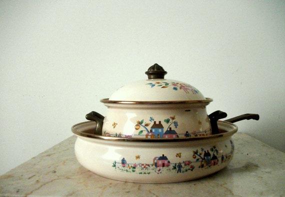 Three Piece Enamelware Saucepan and Stew Pot