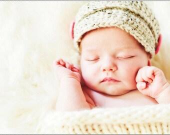 Newsboy Hat, Crocheted Newborn Photography Prop, Newborn Receiving Set