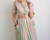 1940s Dress // Pretty Pastel Stripe // Vintage 1940s Day Dress // X-Large