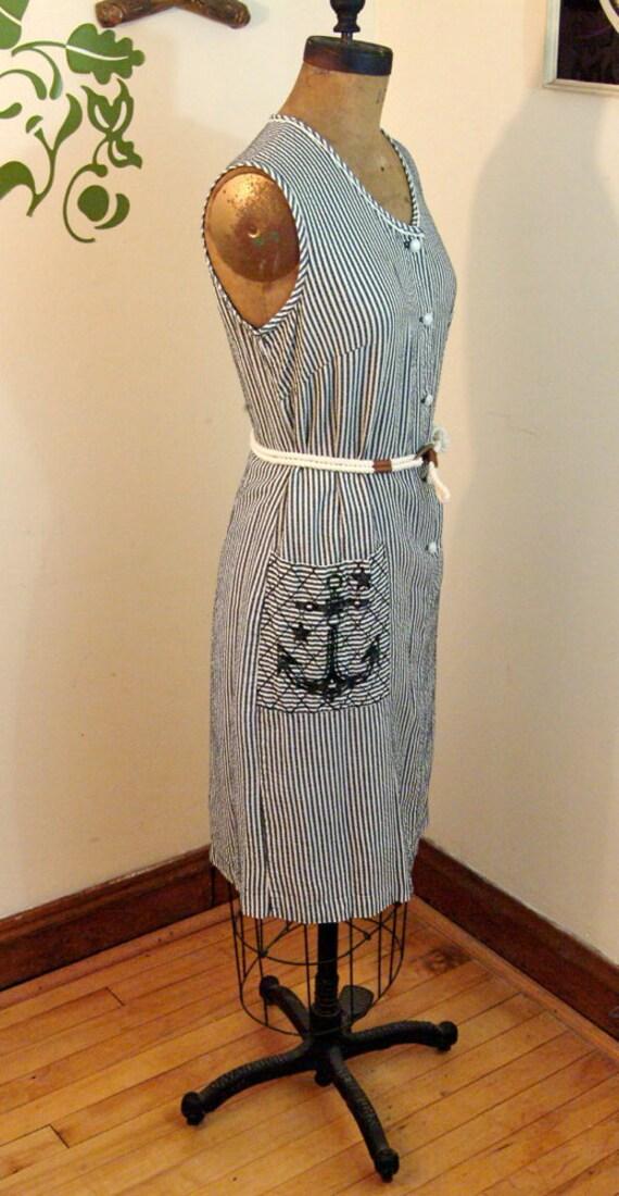 1960s Dress // Anchors Away // Vintage Sheath Dress // M-L