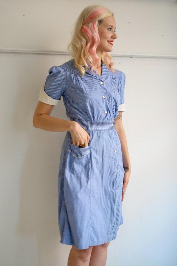1950s Dress // May I Take Your Order // Vintage 1950s Waitress Uniform // S-M