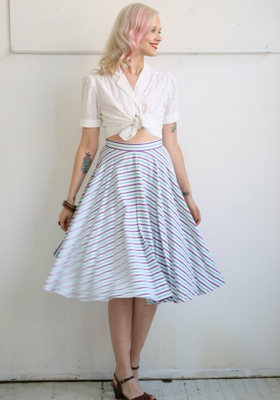 1950s Circle Skirt // Teal & Lilac Striped // Vintage Circle Skirt // Xs-S