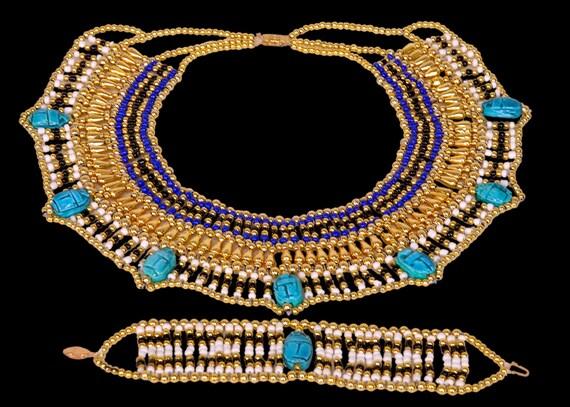 LRG Egyptian Cleopatra Beaded Scarab Necklace &Bracelet