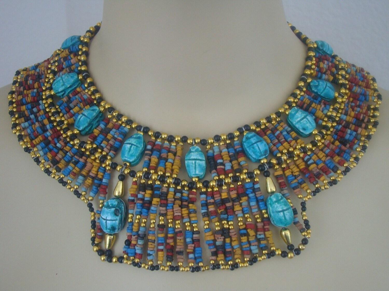 Egyptian Mummybead Cleopatra Bib Collar Necklace 13 Scarabs