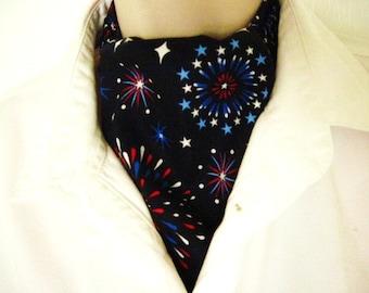Patriotic Ascot Tie Cravat fireworks design.  Think - July 4th.     100% cotton