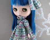 Dress and Oversized Bow for Blythe - Retro Vintage Flower Print