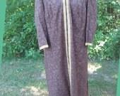 Vintage 1970s Brown and Gold Caftan Dress