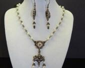 SALE - Lady Valois French Fleur de Lis Renaissance Antique Gold Finish and Pearl Necklace and Earrings Set