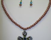 RESERVED - The Lady Julia Muti-Colored Crystal Rhinestone and Chocolate Glass Pearl Cross Necklace Set in Antique SIlver