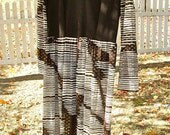 1960s Toni Todd Brown and Gold Maxi dress