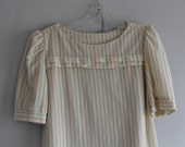 Sally's Girl Cream Pinstriped Blouse and Skirt Set