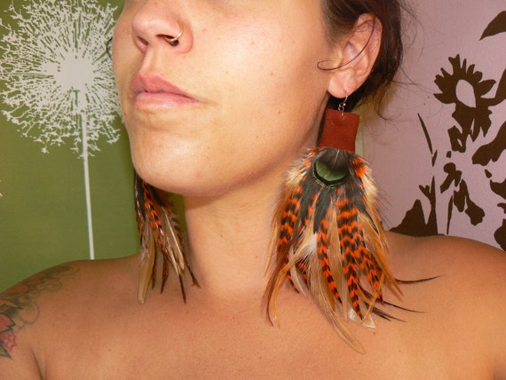 Leather and  FEATHER Earrings - Spicy Harvest