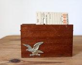 Vintage 1960s Wooden Napkin/Mail Holder with Eagle