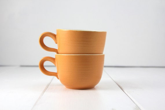Vintage Pair of Peachy Orange Stoneware Mugs
