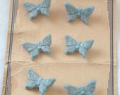 Set 6 Vintage 40s Latest Style Realistic Figural Butterfly Butterflies Buttons on card Light Blue