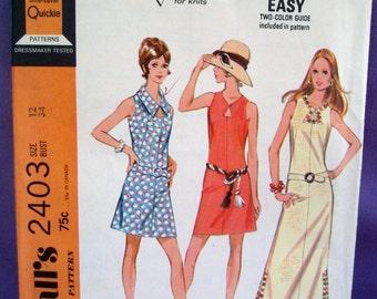 1970 McCALLs Mini or Maxi Dress Pattern 2403 Size 12 UNCUT