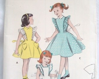 Vintage 50s Butterick pattern 7230 Toddler Girl Pinafore Dress Sz 2 Uncut