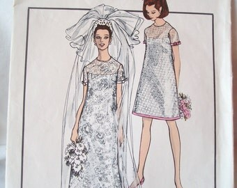 Vintage 60s Vogue Special Design Bridal Wedding gown dress Pattern 1852 Sz 10