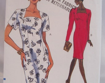 Early 90s Vogue classy dress pattern 8086 Uncut 8-10-12 day or evening