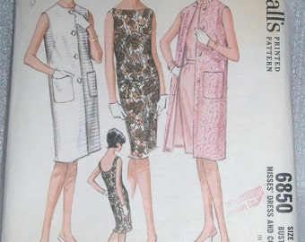 Vintage 1960s McCalls, Dress and Coat Pattern 6850 Size 10