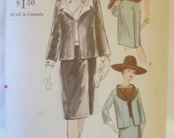 Vintage 60s Vogue Pattern 6298 for Suit and Blouse wrapped skirt  Sz 12 Bust 32