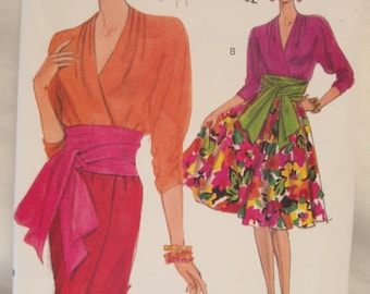 Fabulous early 90's Very Vogue Pattern 8051 for mock wrap dress and sash Sz 6-8-10 Uncut FF