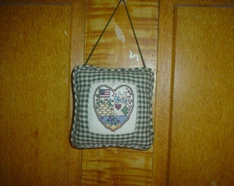 Prim Pillow Cross Stitch Country Hanger