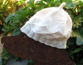 Wool and Mohair Handknit Baby Beanie -- Creamy white