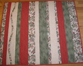 """SALE--Red and Green Quilt -- """"Berry Sweet"""" -- Lap Quilt or Baby Patchwork Quilt"""