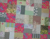 """SALE--Pink and Green Patchwork Quilt--""""Lizards""""--Baby Quilt or Lap Quilt or Toddler Quilt"""