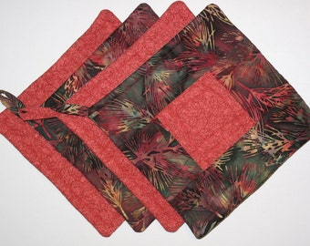 Batik Quilted Potholders -- Red & Green -- 1 Set of 1 of each --Perfect for Christmas