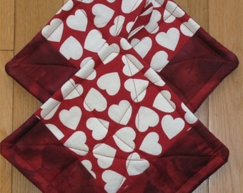 """Red Potholders -- """"True Love"""" Patchwork Potholders -- Red and White Hearts for the Cook You Love"""