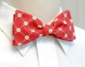 Red techno dots bow tie
