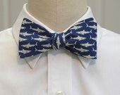 Men's Bow Tie in navy blue cotton with Great White sharks