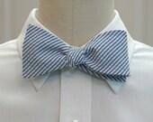 Men's Bow Tie in classic blue seersucker (self-tie)