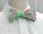 """Men's bow tie in Lilly """"Monkey Trouble"""" Palm Beach Chic."""