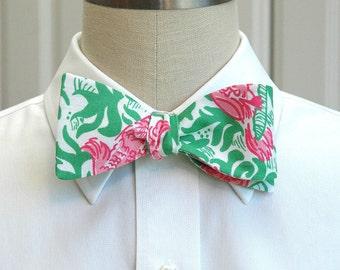 Men's Bow Tie, pink and green Cockatiel Cutie  Lilly print, parrot bow tie, pink green bow tie, bird bow tie, wedding bow tie, groom bow tie