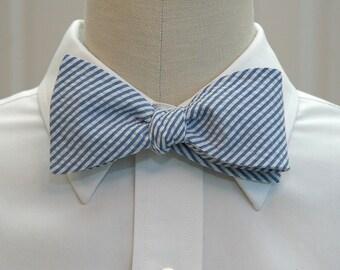 Men's Bow Tie, classic blue seersucker, wedding party tie, groom bow tie, groomsmen gift, summer bow tie, wedding accessory, self tie bowtie