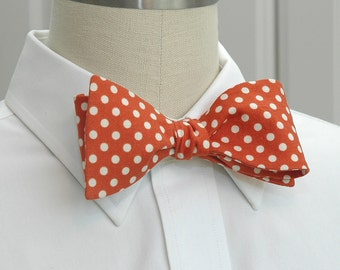 Men's Bow Tie, spicy ginger with ivory polka dots bow tie, classic bow tie, traditional bow tie, dark orange bow tie, professorial bow tie,