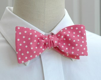 Men's Bow Tie in pink with white polka dots (self-tie)
