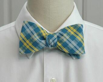 Men's Bow Tie in teal, yellow and white seersucker plaid (self-tie)