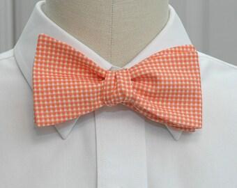 Men's Bow Tie in orange mini gingham (self-tie)