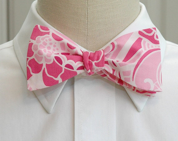 Men's Bow Tie, pink & white Prepped Paisley classic Lilly print, wedding bow tie, groom bow tie, groomsmen gift, pink bow tie, prom bow tie